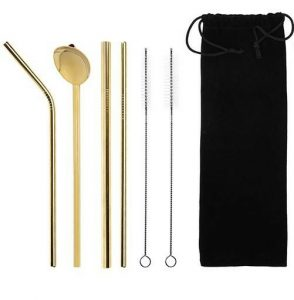 Straw with Spoon Gold
